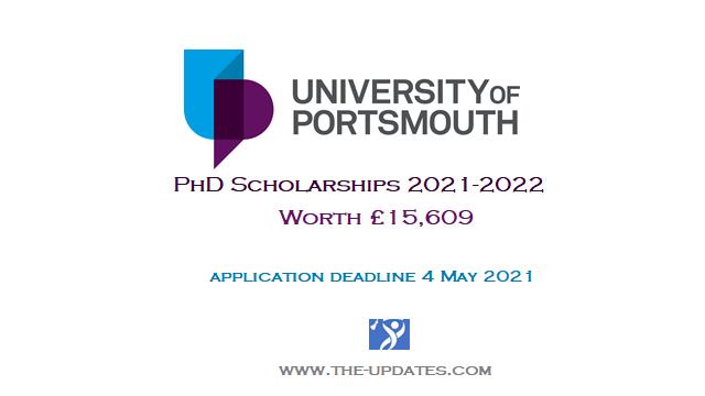 PhD Scholarships at University of Portsmouth UK 2021-2022