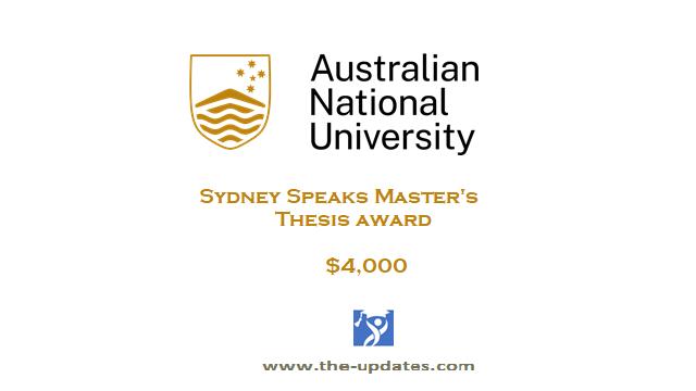 Sydney Speaks Master's Thesis Award at ANU 2021