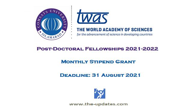COMSATS TWAS Fellowship Program Pakistan 2021-2022