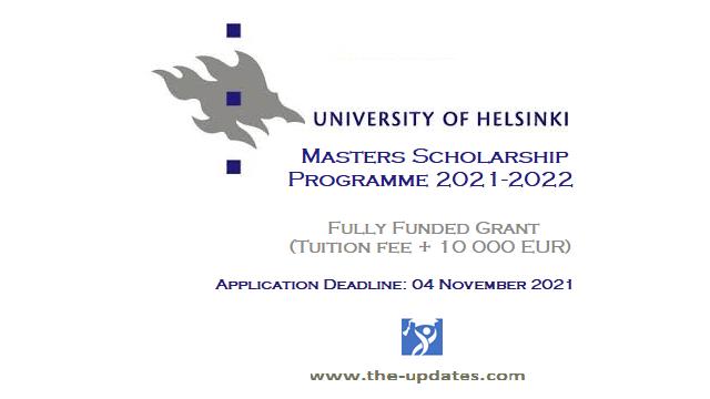 Masters Scholarship Program University of Helsinki Finland 2021-2022