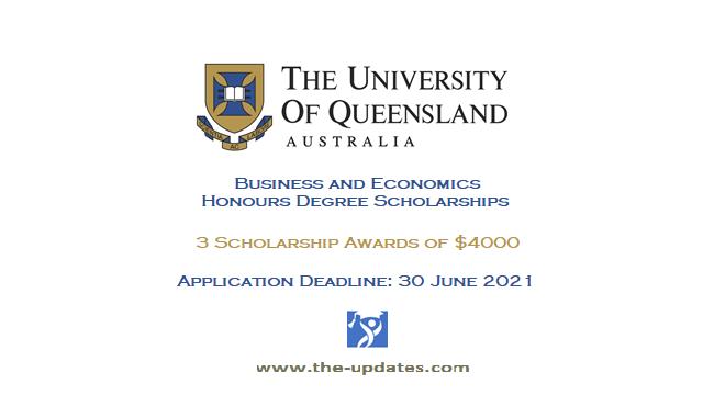 business and economics scholarship queensland university 2021-2022