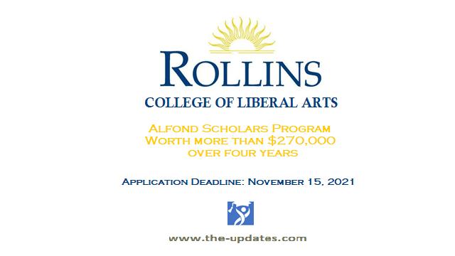 Alfond Scholars program Rollins College of Liberal Arts USA 2022