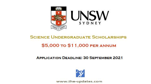 Science Undergraduate Scholarships at UNSW Sydney Australia 2022