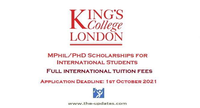 Mphil Phd scholarships kings college of london
