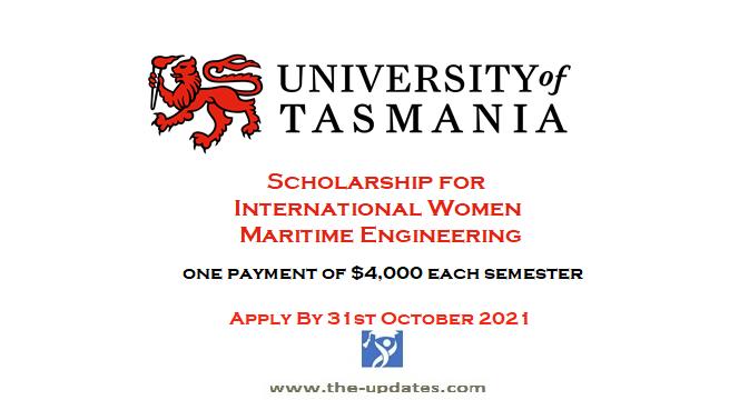 International Women in Maritime Engineering Scholarship at University of Tasmania Australia